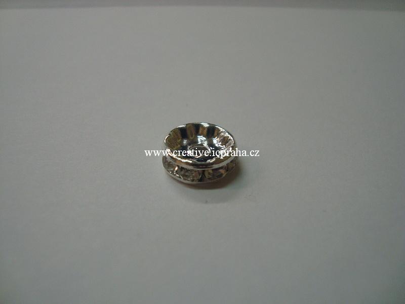 rondelka se šatony - 10mm krystal - postříbřeno
