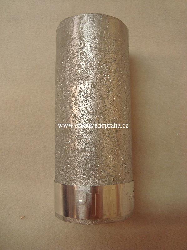 svíčka rustik s páskem - 5x12cm stříbrná