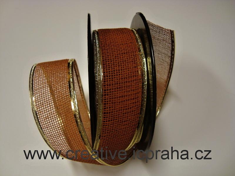 JUTA drátek š.3cm - rezavá/ zlatý lem