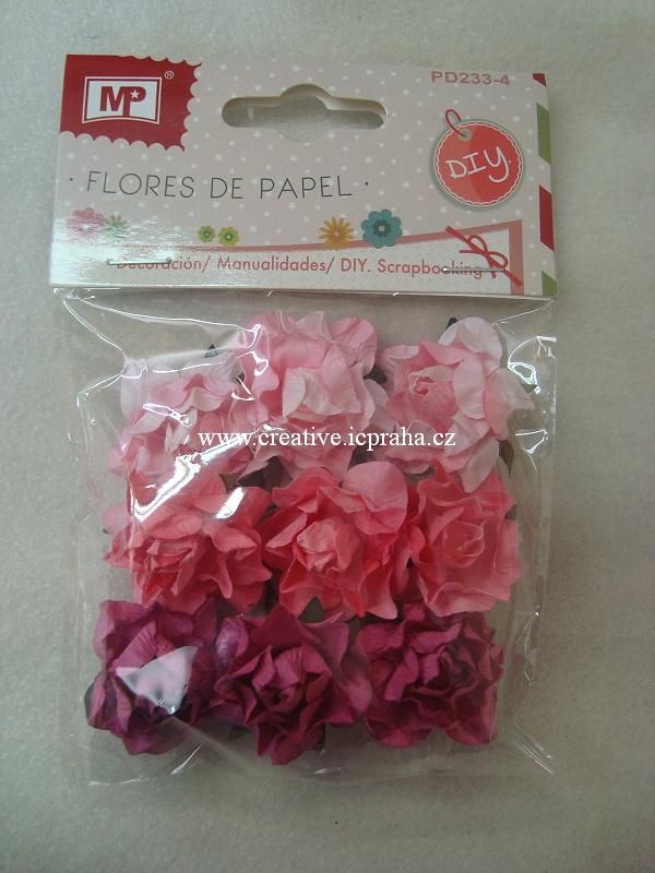 kytičky růže - růžový mix 9ks PD233-4