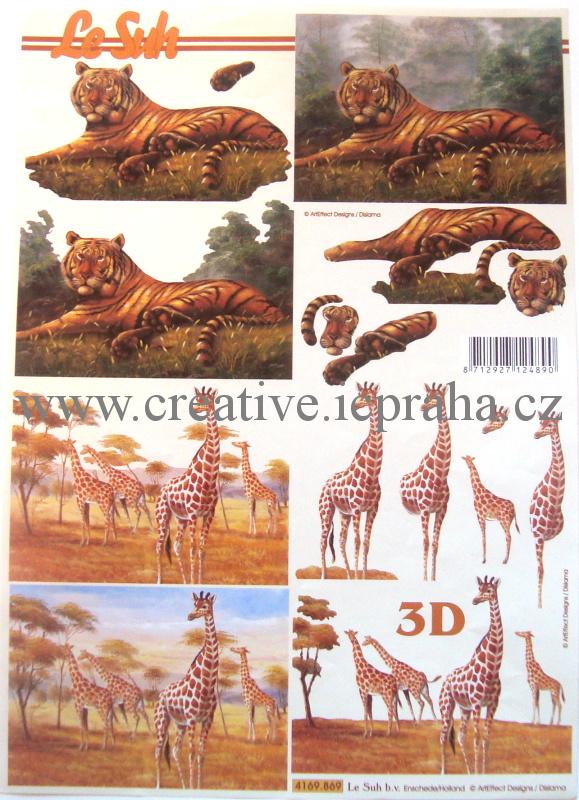 3D tygr, žirafy