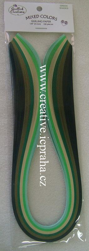 pap.proužky 0.3x44,5cm bal.100ks Mix Green