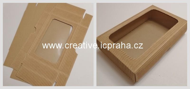 krabička s průhledem - 15x10x3,5/3cmcm kraft