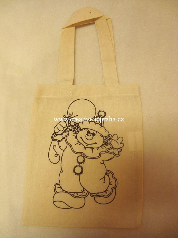 bavlněná taška - natur 25x21cm kr.ucho klaun