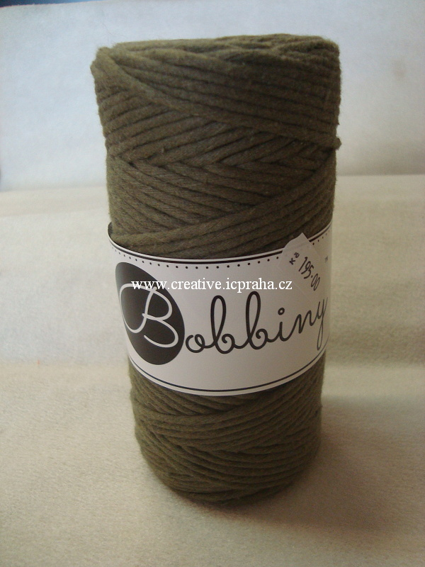 BobbinyMacrame Regular100m/3mm - zelená avokádo