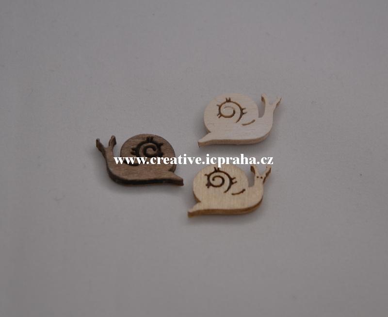dřevo - hlemýžď2cm - 1ks natur/hnědý sv.