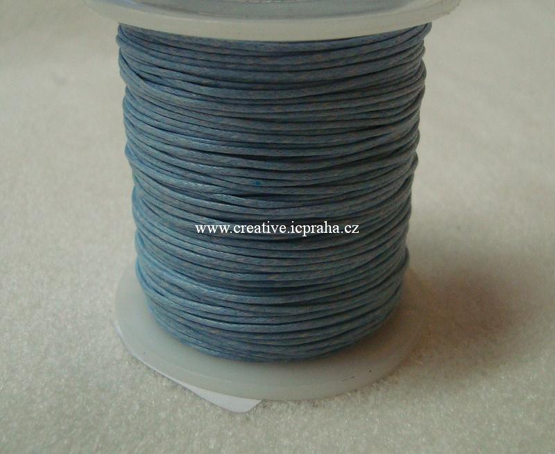 Povoskovaná šňůrka, modrá pastelová 1mm BE168