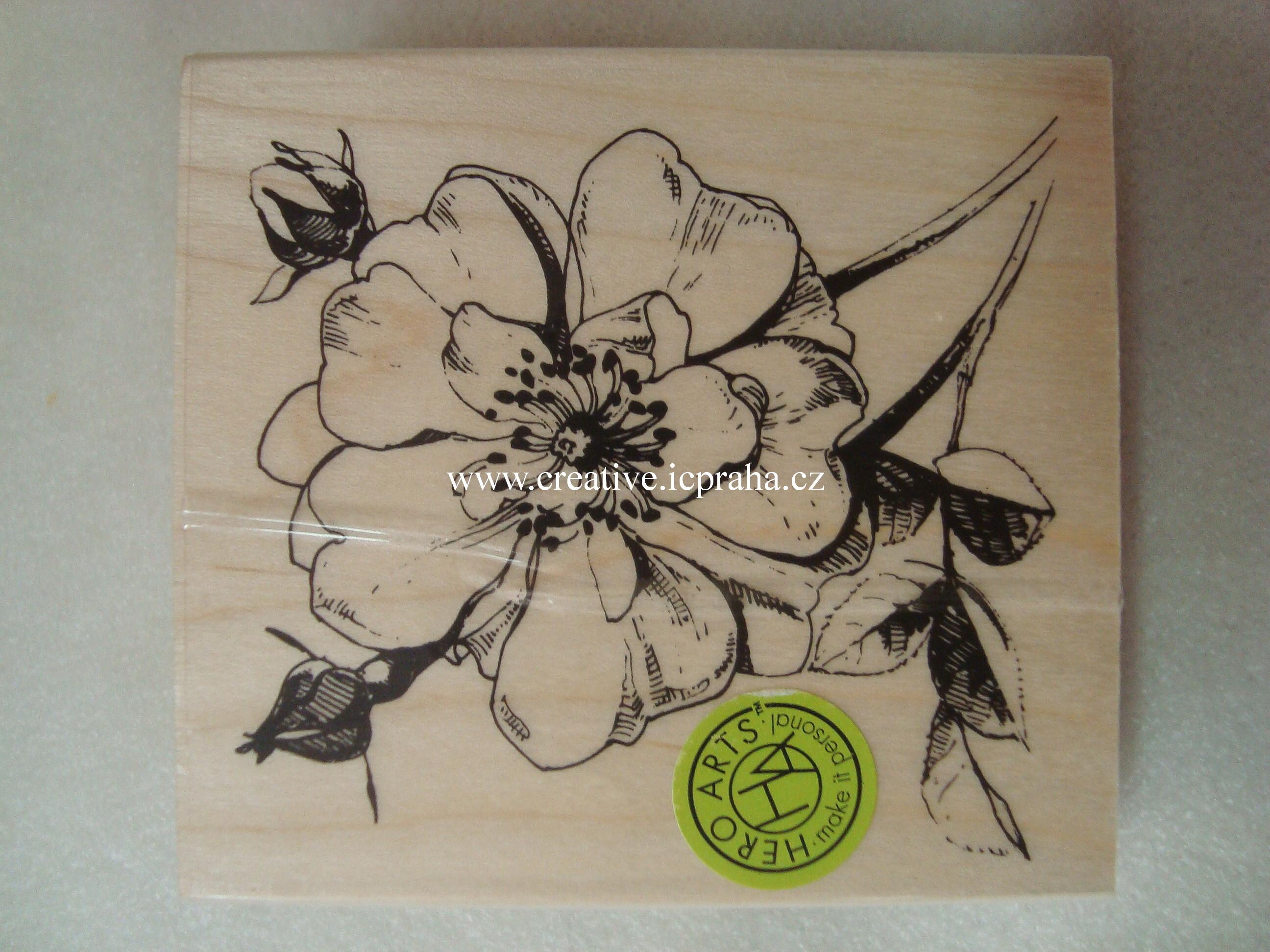 raz. dřevěné Hero Arts - Růže větvička 8x7cm
