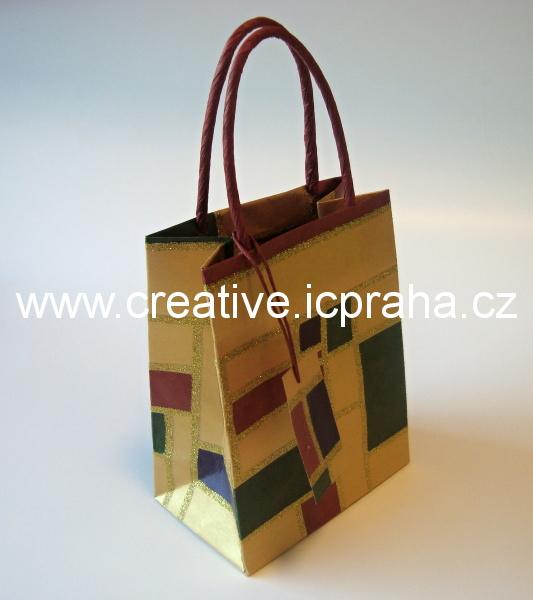 dárková vánoční taška s glitry 10x14cm