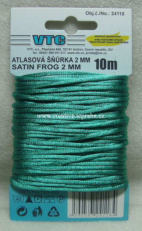 Saténová šňůrka 2mm - 10m zelená