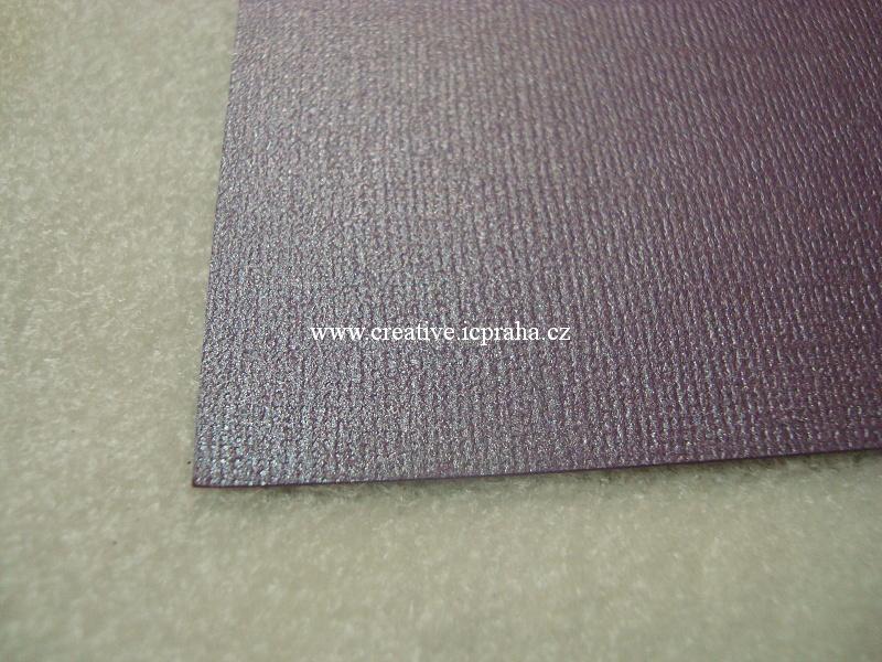 perleťový papír- struktura A4 220g/m2 - Švestka