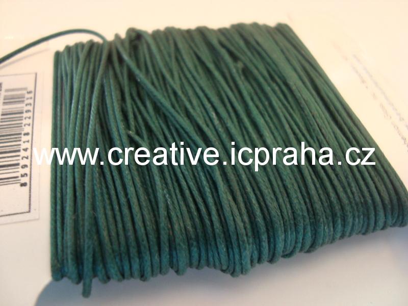 Povoskovaná šňůrka, zelená tmavá 1mm