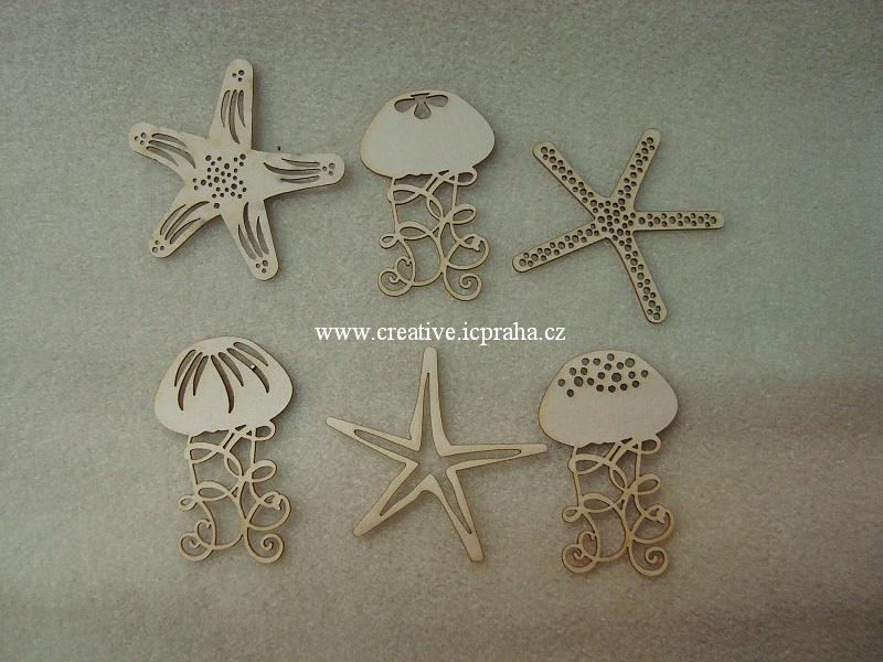 výřezy medůzy, hvězdice 6ks 2,9-45cm