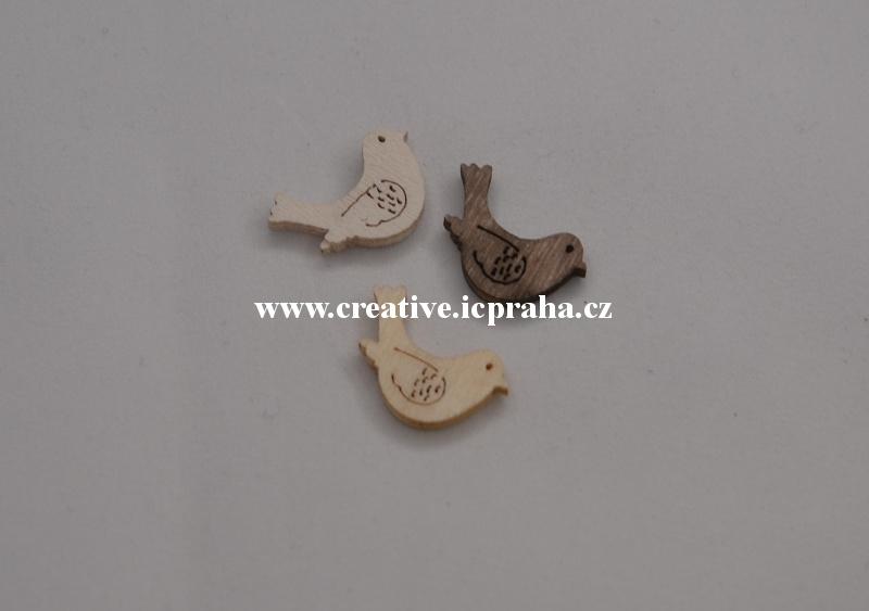 dřevo - ptáček 2cm/1ks - natur/bílá