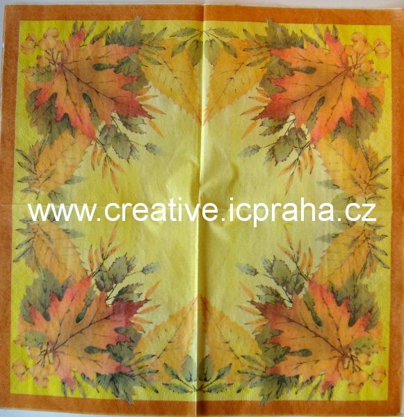 listy podzimní barvy na žlutém podkladě  LIOS