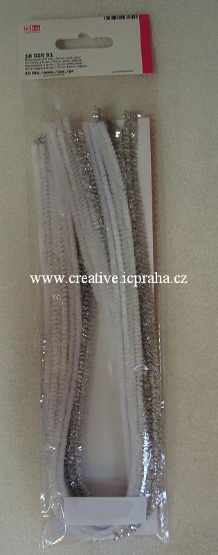 chlupaté barevné drátky bílé a stříbrné sada 10ks