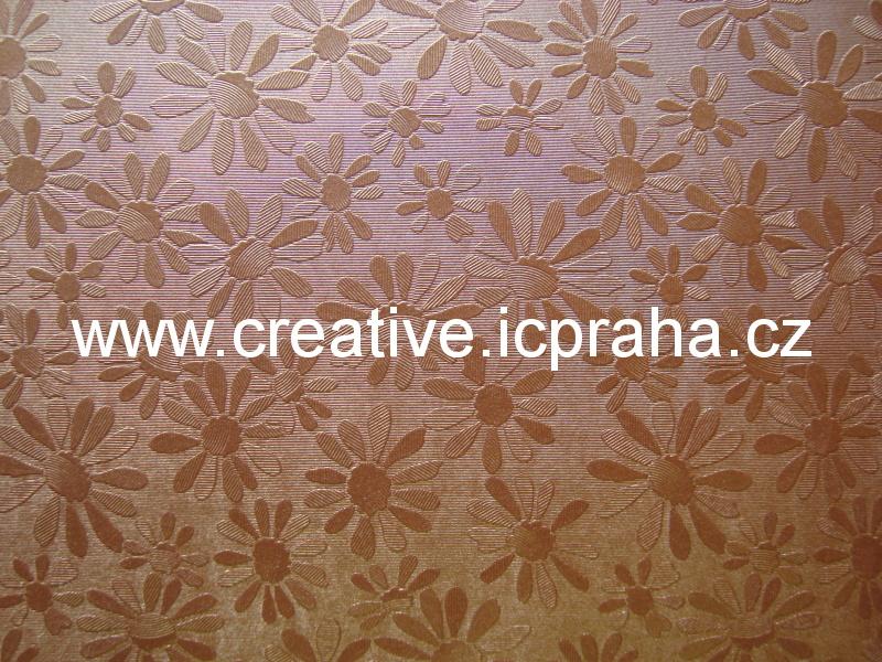ražený papír 230g/m2 23x33cm - květy- 5082309