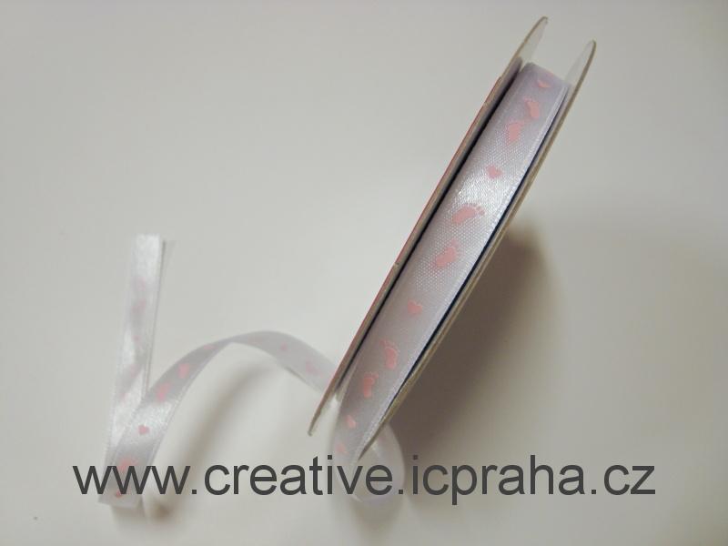 stuha taftová Chodidla 10mm bílá+růžová