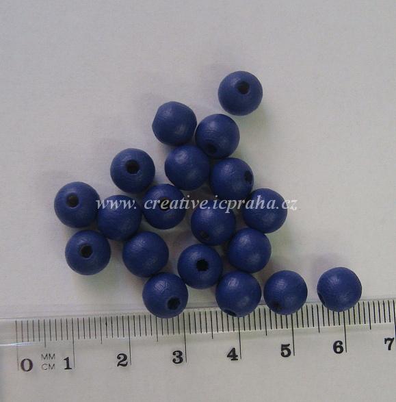 dřevěné korálky 8mm bal.25ks modrá