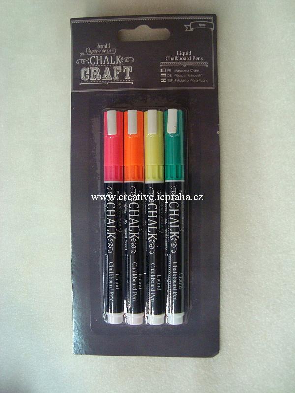 Popisovač křídový - 4ks/barvy zářivé