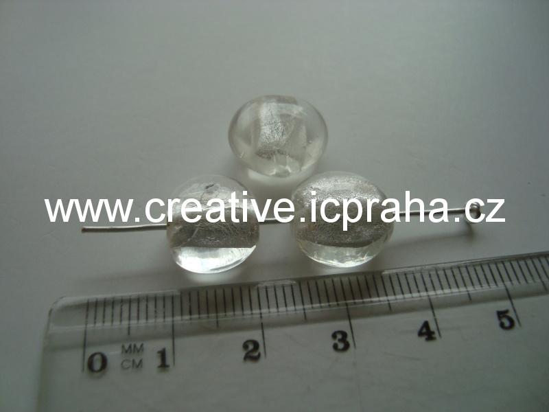oválek se stříbrem 13mm crystal