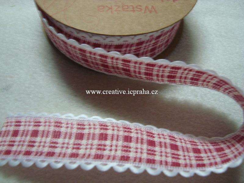 Stuha 2,5cm - káro červená s bílou obrubou