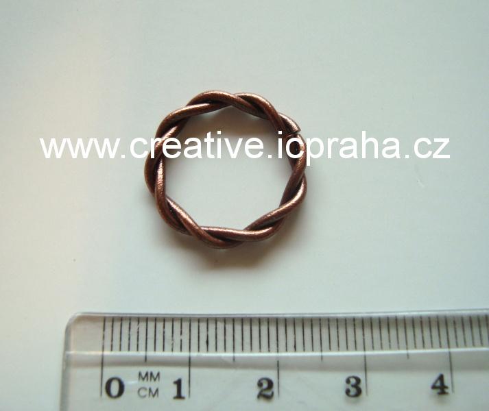 Spojovací kroužek kroucený 20mm - měď