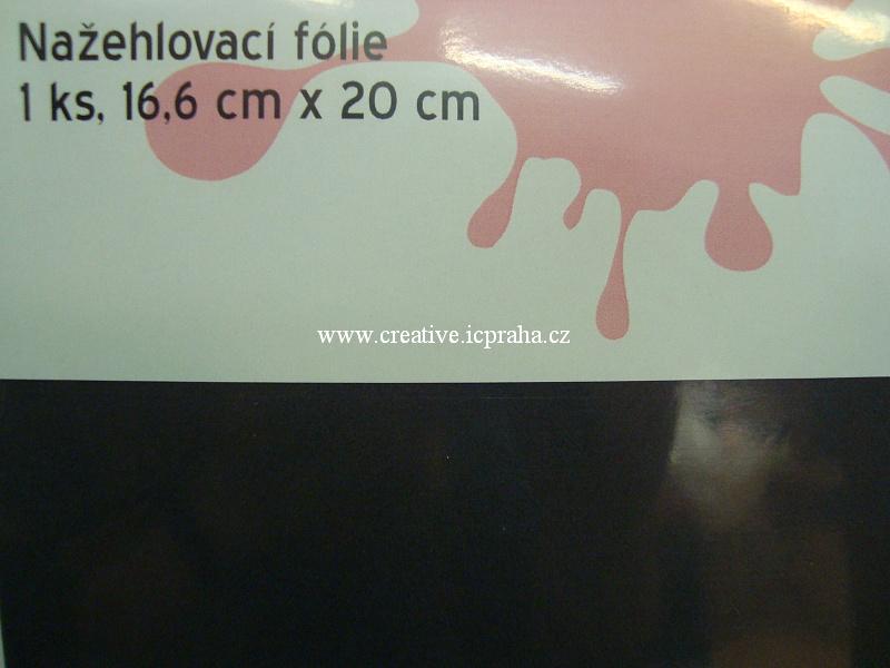 nažehl. folie - 20x16,6cm černá/antracit sametová