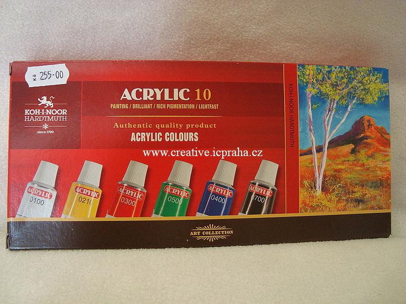 akrylové barvy - sada 10 x 16ml Koh-i-noor
