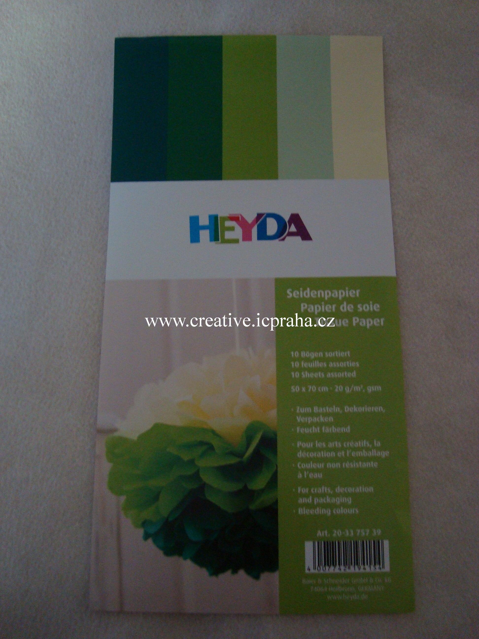 hedvábný papír zeleno žlutý  50x70 10ks HE