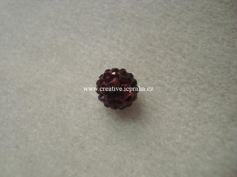 kulička se šatony 10mm - červená rubín