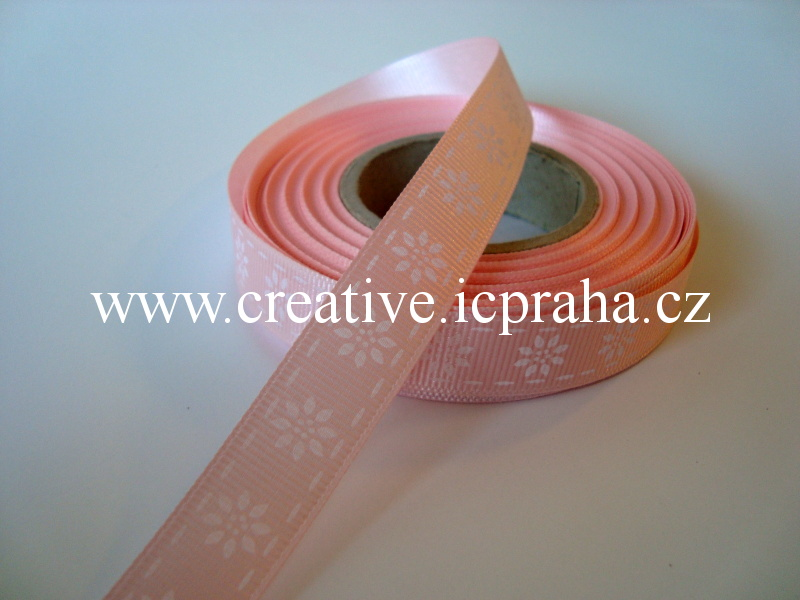 Stuha rypsová - 15mm - kytičky - růžová 208603