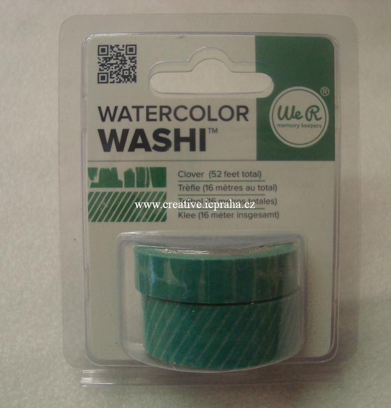 Washi páska - clover zelená.2ks 16m