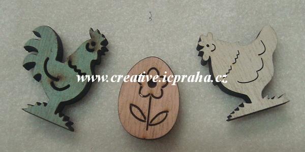 dřevo - kohout/slepice/vejce 3-4,5cm 3ks
