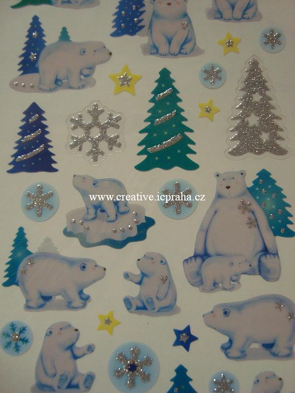 samolepky Vánoce a lední medvědi 10x23cm