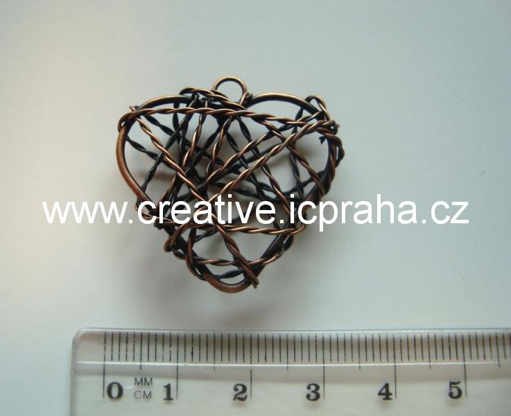 srdíčko drátěné - motanice 30mm měděné