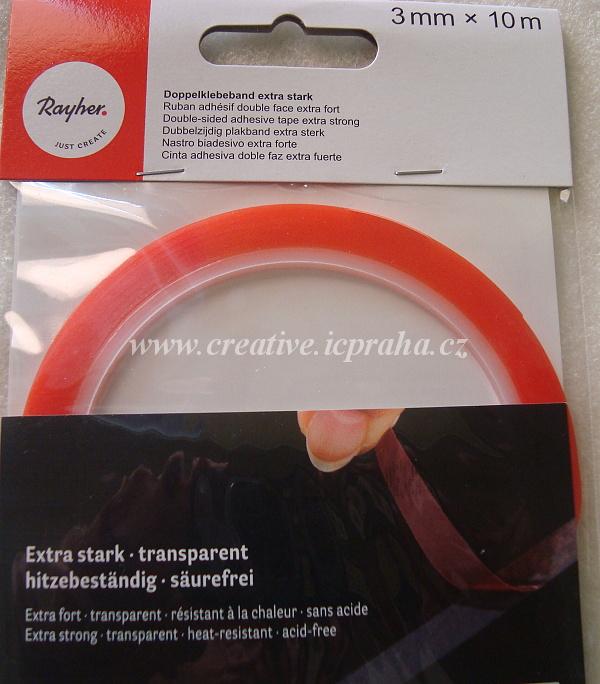 oboustranná lepící páska 3mmx10m transp.