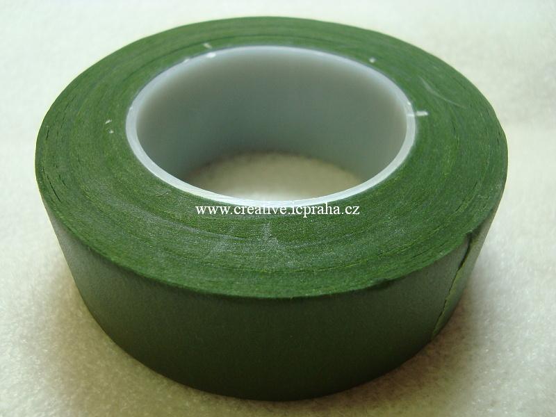 páska zelená - floristická 27mm/27m