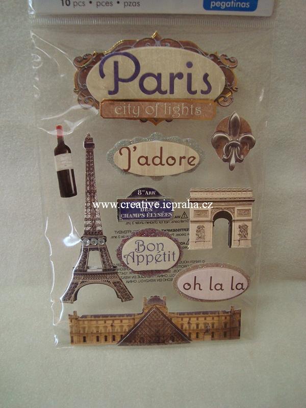 Nálepky 3D - Paříž 10ks