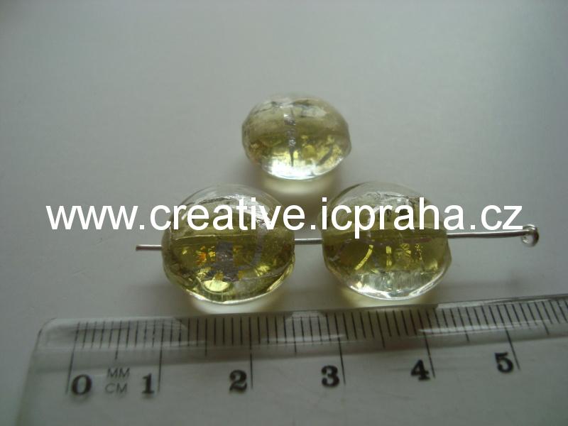 oválek se stříbrnými nitkami 16mm olivine (žluté)