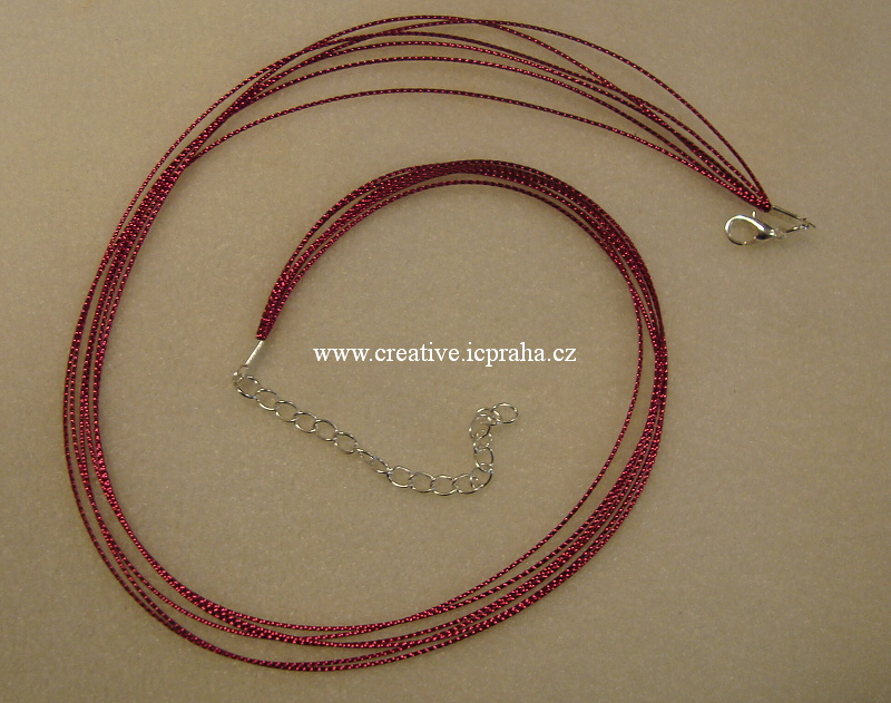 Komplet lurex.šňůrka+karabinka - růžová tm. 136c918d36