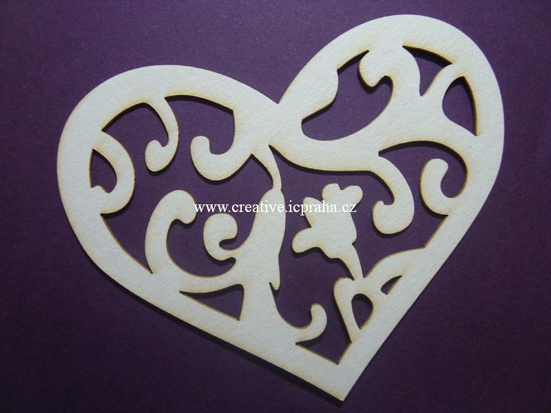 výřezy srdce s ornamentem 5ks 7cm,10cm