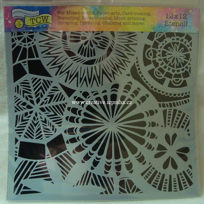 šablona plast TCW 30x30cm Floral Spectacle 838