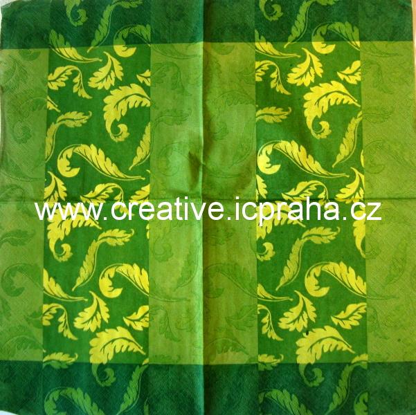 ornament sv.a tm.zelený - pruhy  PAW