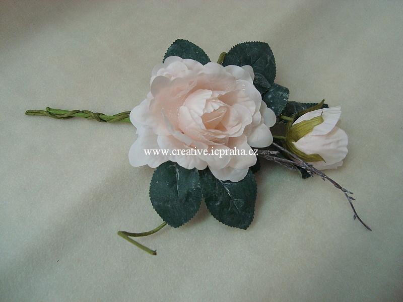 růže s větvičkou květ+poupě - svělá