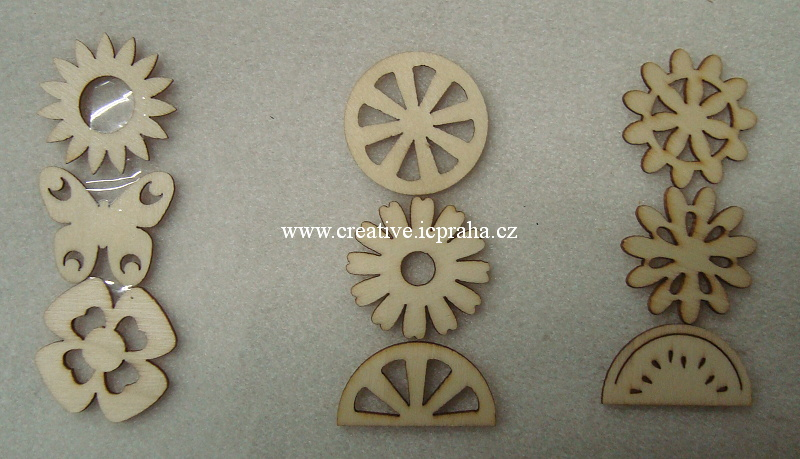 dřevěné dekorace Mix /zahrada 3ks