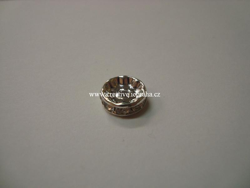 rondelka se šatony - 8mm krystal - postříbřeno