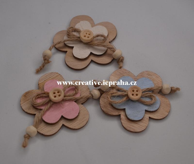 dřevo - květ s knoflíkem 5cm/1ks -  natur/barva