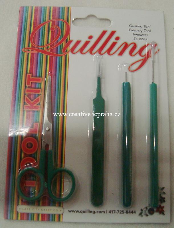 Quilling - nářadí 4ks nůžky+kolík+hrot+pinzeta