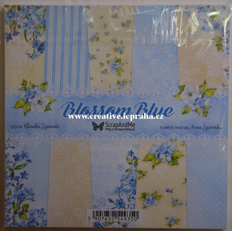 ScrapAndMe Květy Modré sada 20ks 15x15cm 250g/m2